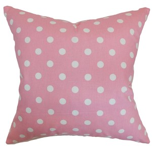 Nancy Candy Pink and White 18 x 18 Patterned Throw Pillow