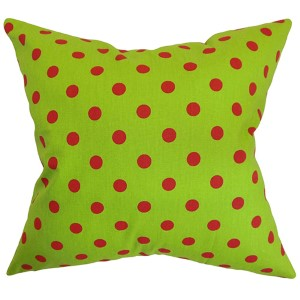 Nancy Red 18 x 18 Patterned Throw Pillow