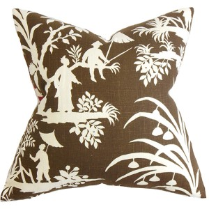 Liya Brown 18 x 18 Floral Throw Pillow