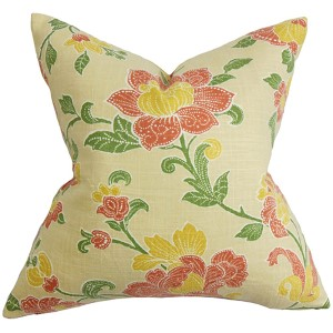 Duscha Yellow and Red 18 x 18 Floral Throw Pillow