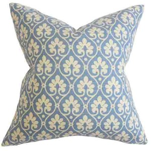Uneqo Blue 18 x 18 Floral Throw Pillow