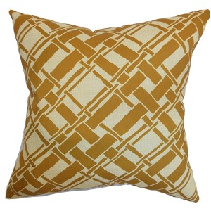 Rygge Gold 18 x 18 Patterned Throw Pillow