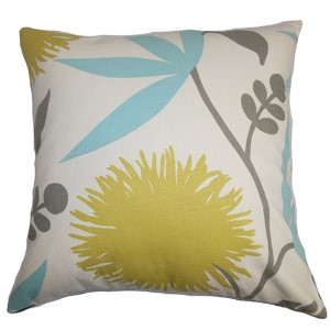 Huberta Yellow and Blue 18 x 18 Floral Throw Pillow