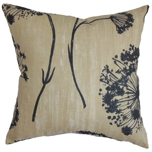 Garuahi Black and Beige 18 x 18 Floral Throw Pillow