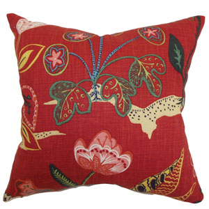 Unayzah Floral Pillow Poppy Red