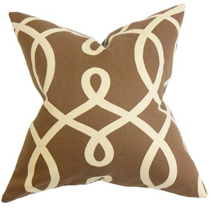 Chloris Brown 18 x 18 Geometric Throw Pillow