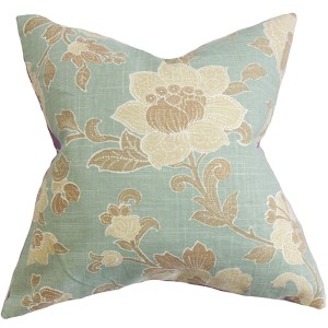 Duscha Blue and Brown 18 x 18 Floral Throw Pillow