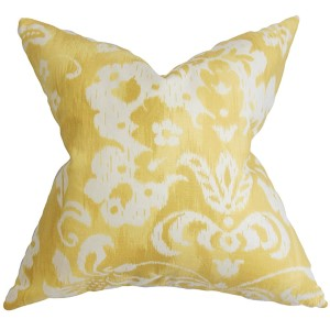 Emese Yellow 18 x 18 Floral Throw Pillow