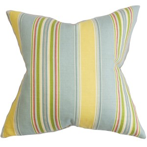 Hollis Blue and Yellow 18 x 18 Stripes Throw Pillow