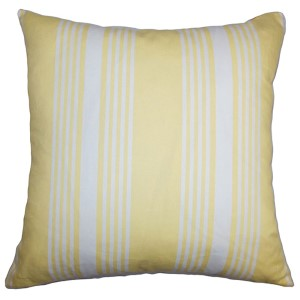 Perri Yellow 18 x 18 Stripes Throw Pillow