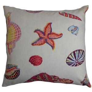 Rayen Pink and White 18 x 18 Coastal Throw Pillow