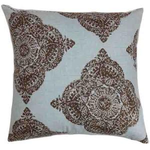 Daganya Chambray Blue 18 x 18 Damask Throw Pillow