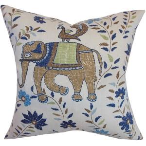 Carna Blue and Brown 18 x 18 Animal Print Throw Pillow