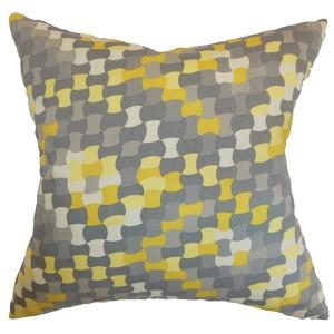 Gaya Canary 18 x 18 Geometric Throw Pillow