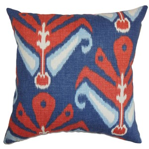 Sakon Blue 18 x 18 Patterned Throw Pillow
