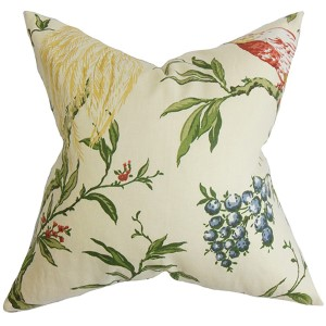 Giulia White and Green 18 x 18 Floral Throw Pillow