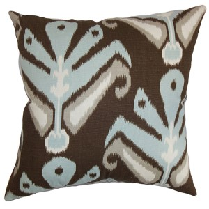 Sakon Aqua 18 x 18 Patterned Throw Pillow