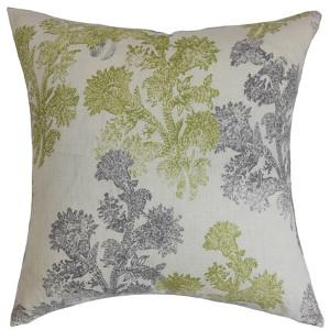 Eara Green 18 x 18 Floral Throw Pillow