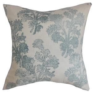 Eara Aqua 18 x 18 Floral Throw Pillow