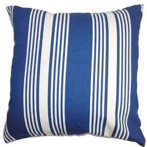Perri Blue 18 x 18 Stripes Throw Pillow