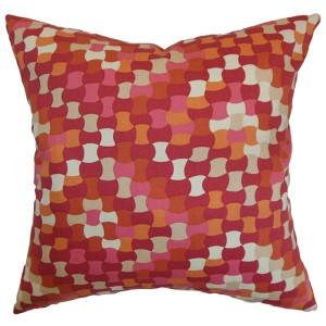 Gaya Red 18 x 18 Geometric Throw Pillow