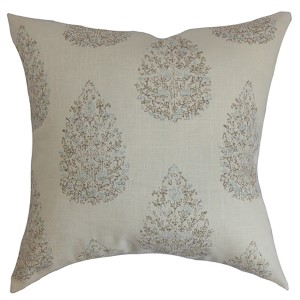 Faeyza Aqua Cocoa 18 x 18 Floral Throw Pillow