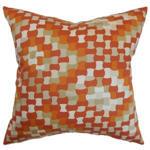 Gaya Orange 18 x 18 Geometric Throw Pillow
