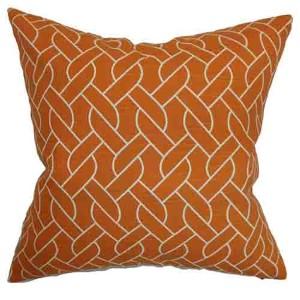 Neptune Orange 18 x 18 Geometric Throw Pillow