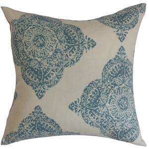 Daganya Aqua 18 x 18 Damask Throw Pillow