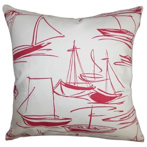 Gamboola Red and White 18 x 18 Nautical Throw Pillow