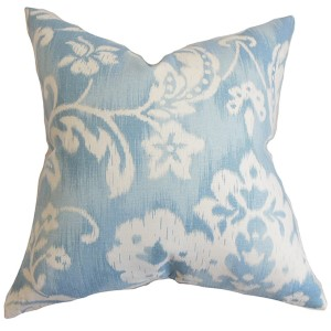 Emese Sky Blue 18 x 18 Floral Throw Pillow