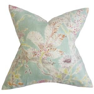 Satriya Seaglass Blue 18 x 18 Floral Throw Pillow