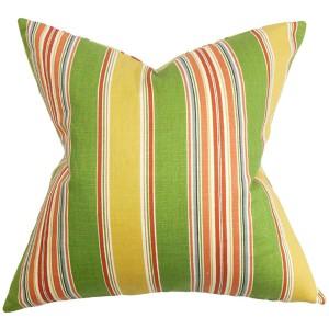 Hollis Green and Yellow 18 x 18 Stripes Throw Pillow
