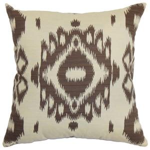 Gaera Brown 18 x 18 Ikat Throw Pillow