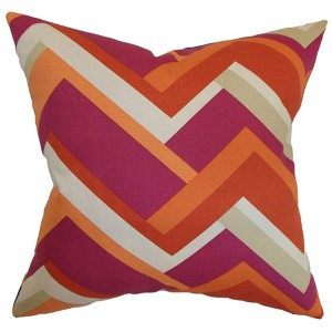 Hoonah Orange 18 x 18 Geometric Throw Pillow