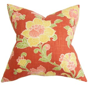 Duscha Red and Yellow 18 x 18 Floral Throw Pillow