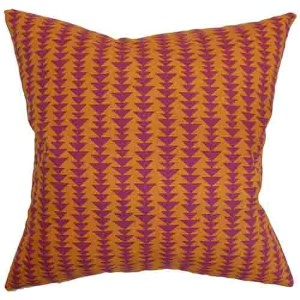 Jiri Orange 18 x 18 Geometric Throw Pillow