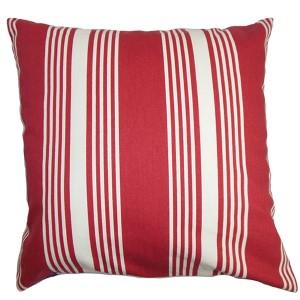 Perri Red 18 x 18 Stripes Throw Pillow
