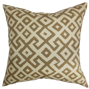 Aban Brown and Cocoa 18 x 18 Geometric Throw Pillow