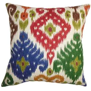 Kaula Green, Blue and Red 18 x 18 Geometric Throw Pillow