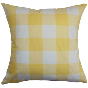Vedette Yellow 18 x 18 Plaid Throw Pillow