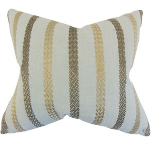 Emese Blue 18 x 18 Stripes Throw Pillow