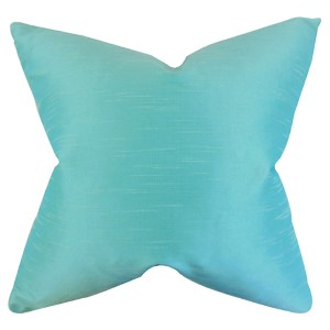 Acker Aqua 18 x 18 Solid Throw Pillow