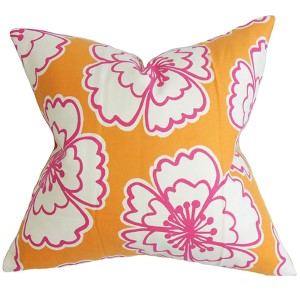 Winslet Orange 18 x 18 Floral Throw Pillow