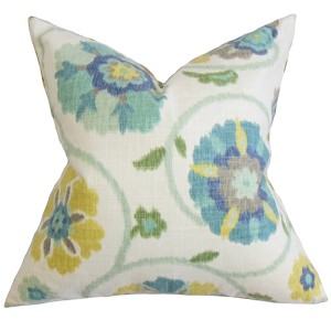 Tarian Blue 18 x 18 Floral Throw Pillow