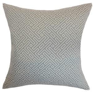 Qalanah Silver 18 x 18 Geometric Throw Pillow