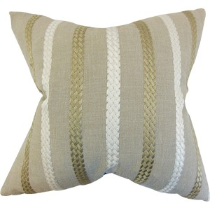 Emese Neutral 18 x 18 Stripes Throw Pillow