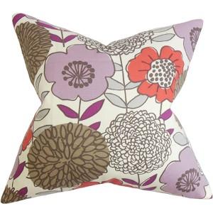 Veruca Purple 18 x 18 Floral Throw Pillow