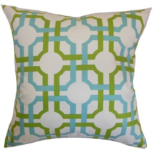 Aebba Blue and Green 18 x 18 Tile Throw Pillow