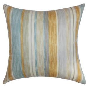 Nakeasha Aqua 18 x 18 Stripes Throw Pillow